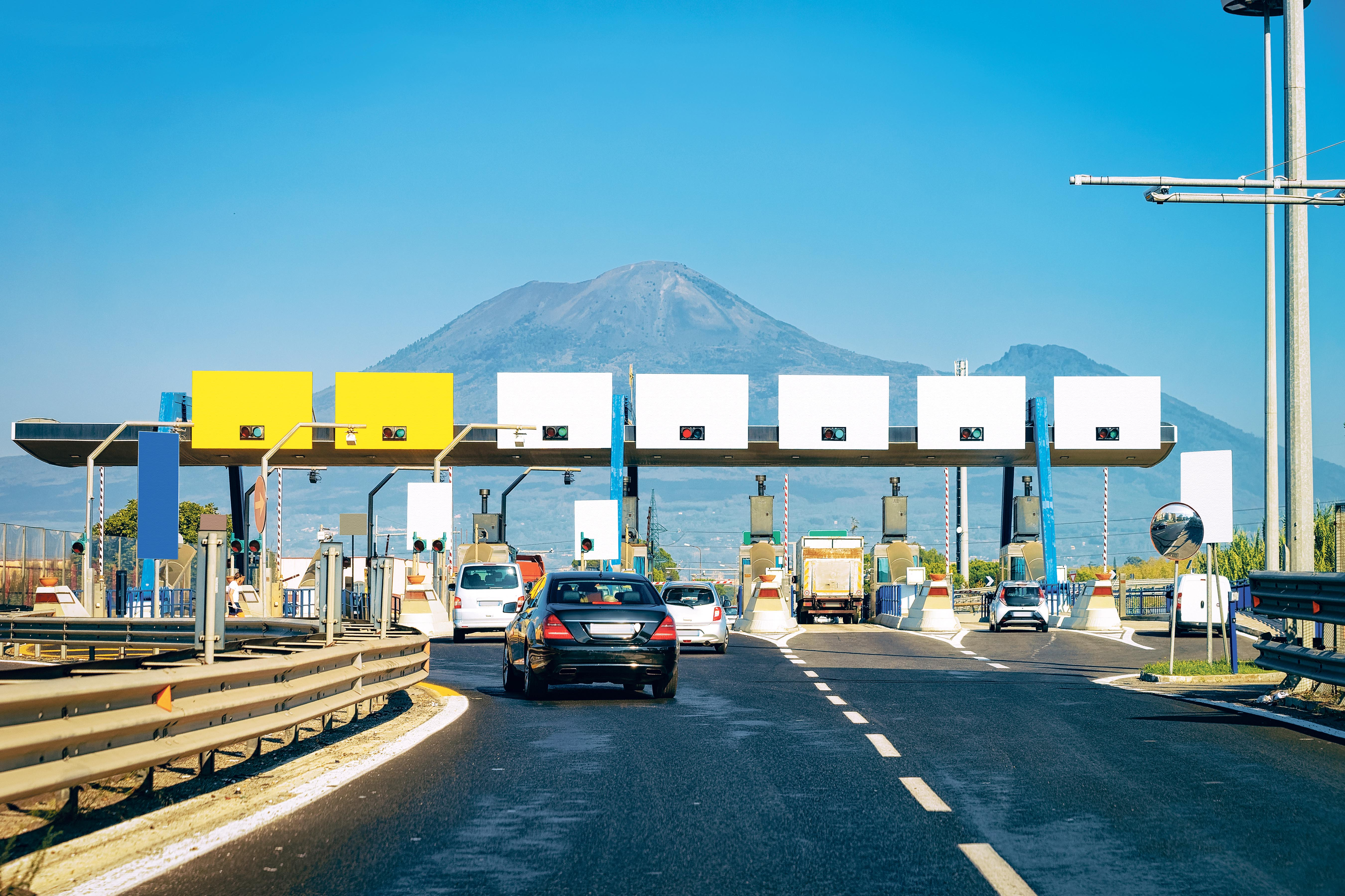 Toll Booth With Blank Signs On Road In Italy