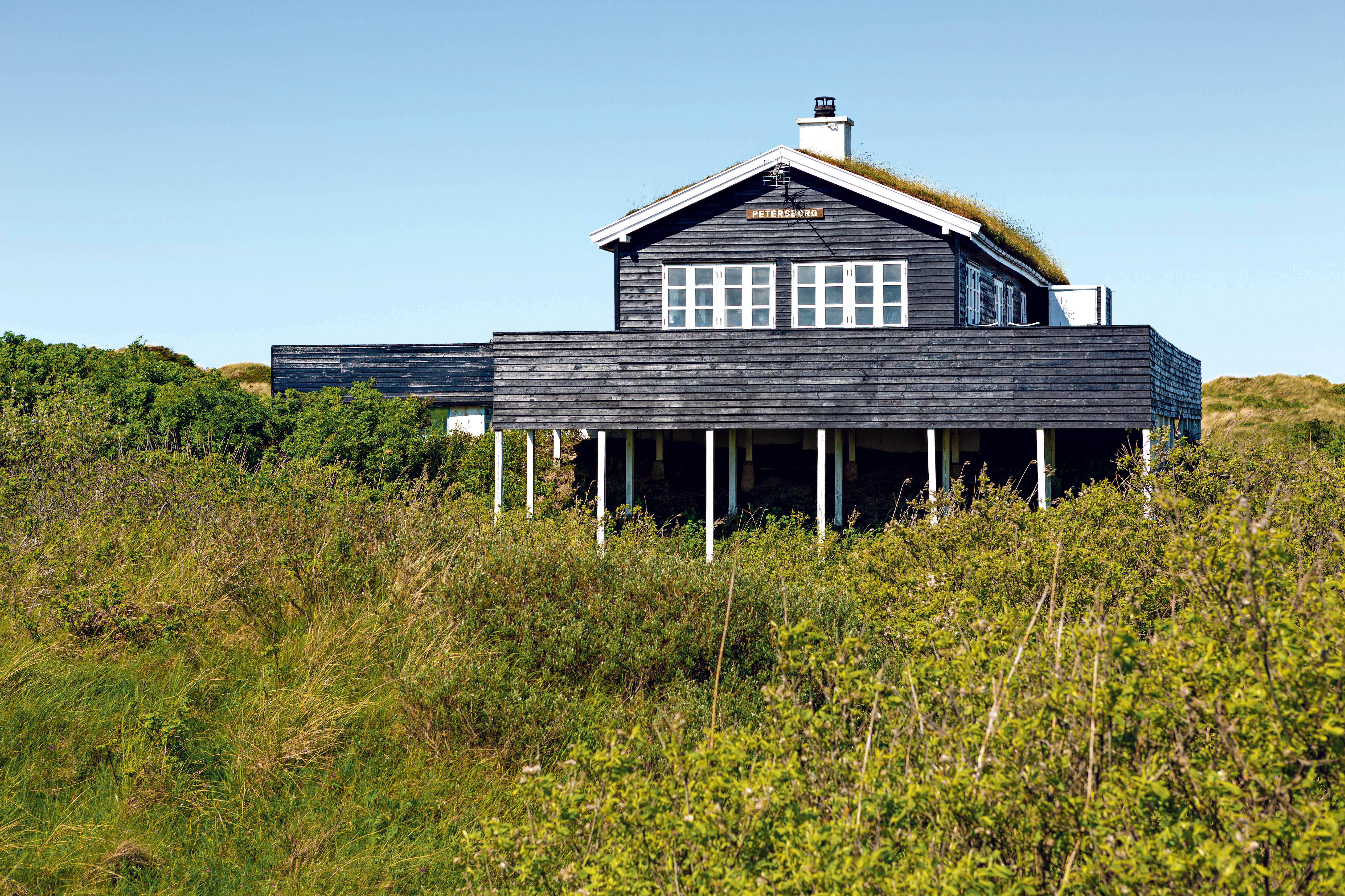 Traditional Danish House In The Sand Dune With Blue Sky And Green Grass
